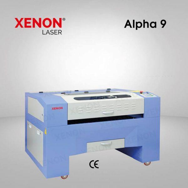 Alpha 9 lazer kesim makinası sol yandan görünüm
